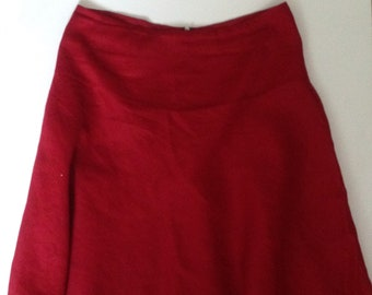 Deep Red Cotton Skirt  Fully Lined  size 10 by JIGSAW     late 1990s Vintage