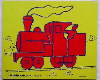 1970's  Wooden Kiddicraft Simple Jigsaw puzzle   RED TRAIN ENGINE with driver    - nine pieces