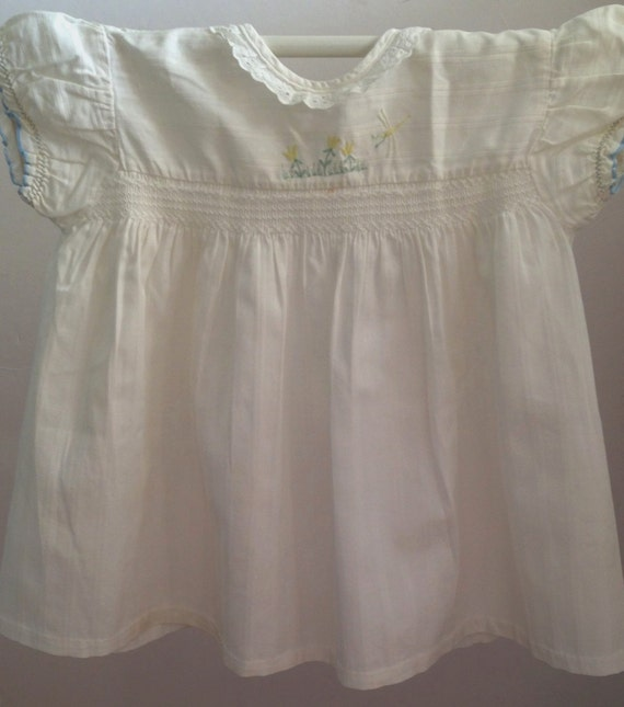 1980's  Girls short sleeve white dress with delica