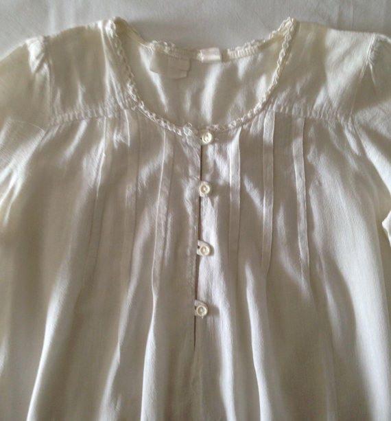 Long Sleeve Cotton CREAM SMOCK  top   1960s