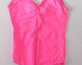 Child's Shocking Pink Sleeveless Leotard with Ruched V Neck Size 1  Dancewear 1985 Vintage