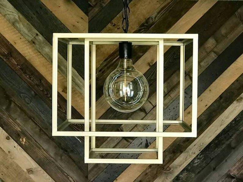Gold Cubed Pendant Chandelier image 0