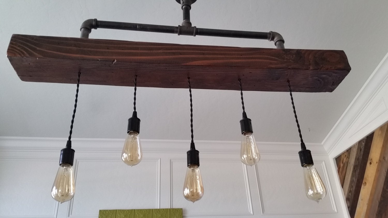 Steel Pipe Chandelier with Rustic Wood Beam Pendants - Industrial ...