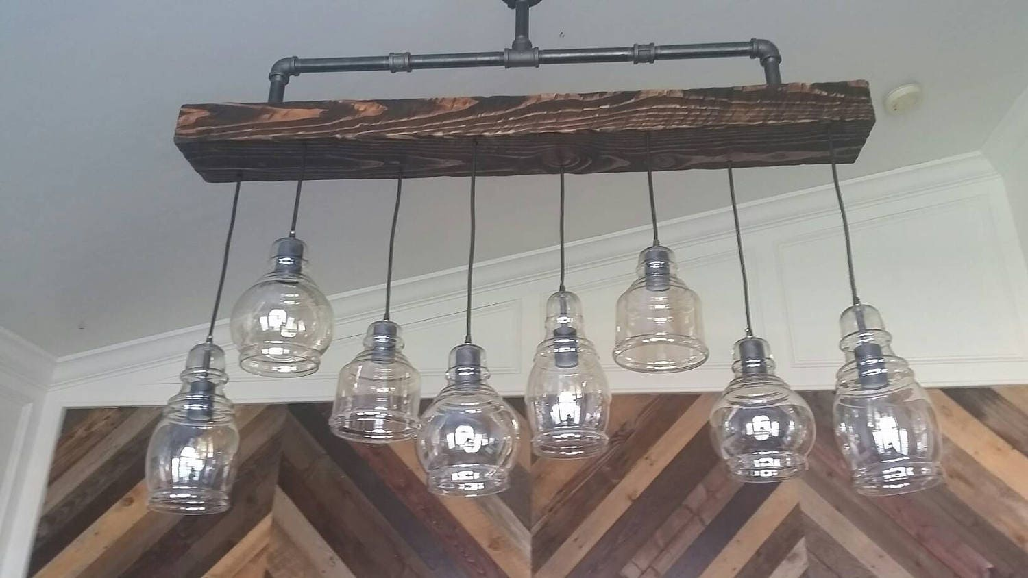 Rustic Wood Beam and Steel Pipe Chandelier with Cognac Glass Pendants