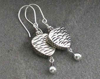 Balinese Sterling Silver Earrings, Bali Silver Jewelry, Bali Silver Dangles, Bali Drops, Modern Earrings, Balinese Earrings