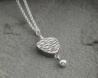 Balinese Sterling Silver Necklace, Bali Silver Jewelry, Bali Silver Pendant Necklace, Sterling Silver Drop Necklace, Modern Silver Jewelry