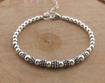Sterling Silver Beaded Bracelet, Bali Bead Bracelet, Turkish Silver Jewelry, Beaded Sterling Silver Bracelet, Silver Beads