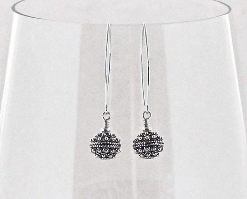 a9ebe66a8 Sterling Silver Earrings Bali Beads Turkish Silver Long | Etsy