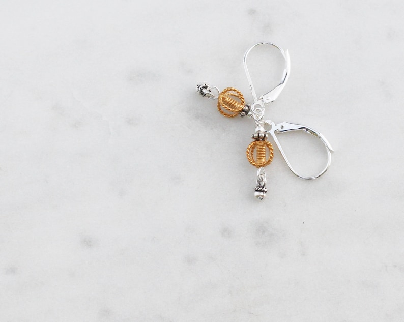 Small and Dainty Gold and Silver Earrings on Leverbacks Mixed Metal Jewelry
