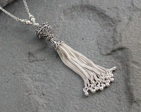 Gold Chain Tassel Necklace with Mini Teardrop Charms 22K Gold Plated Gold Chain Tassel Gold Tassel Turkish Jewelry Metal Tassel