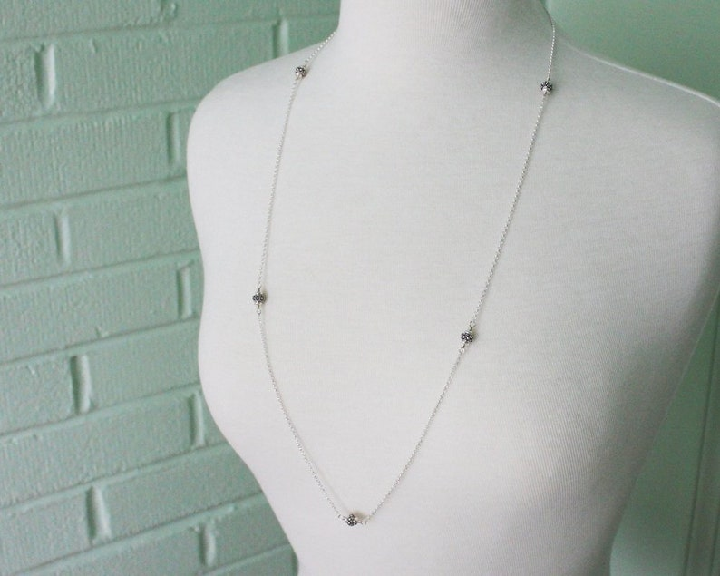 Bali Style Turkish Silver Jewelry Long Beaded Chain Sterling Silver Station Necklace 34 inches