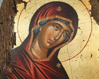 Theotokos Deesis Dionysiou Monastery Mount Athos Hand-Painted (Written) Orthodox Byzantine Icon on Wood (Premium Quality)
