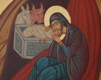Nativity of Christ Handpainted Byzantine Orthodox Icon on Wood