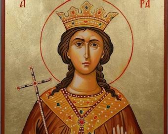 Saint St Barbara Hand-Painted Greek Byzantine Orthodox Icon on Wood 30 x 20cm