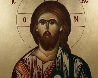 Jesus Christ Pantokrator Hand-Painted Byzantine Orthodox Icon on Wood 40 x 30cm