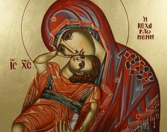 Theotokos Virgin Mary Pelagonitissa Mother of God Eleusa Hand-Painted Byzantine Orthodox Icon on Wood 40 x 30cm