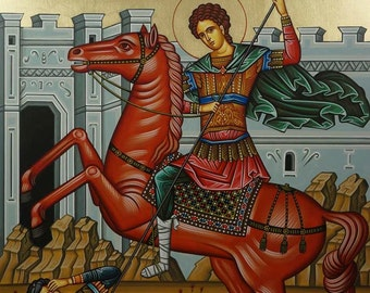 Saint St Demetrios the Myrrh-Streamer Horseback Hand-Painted Greek Byzantine Orthodox Icon on Wood 40 x 30cm