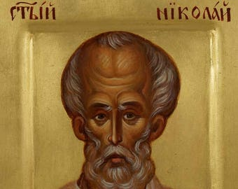 Saint St Nicholas of Myra Miniature Hand-Painted Orthodox Byzantine Icon on Wood (Premium Quality)