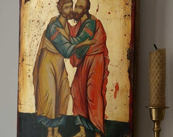 Holy Apostles Peter and Paul Hand-Painted Orthodox Byzantine Icon on Wood 30x20cm