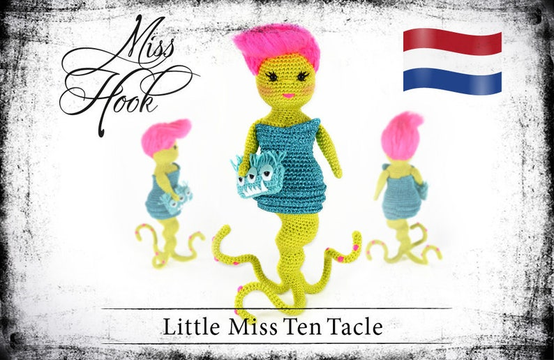 Haakpatroon voor de pop Little Miss Ten Tacle kleine monster image 0