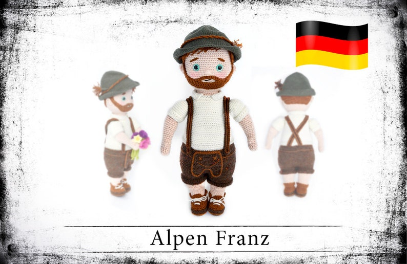 crochet doll pattern Alpen Franz eBook PDF German language image 0