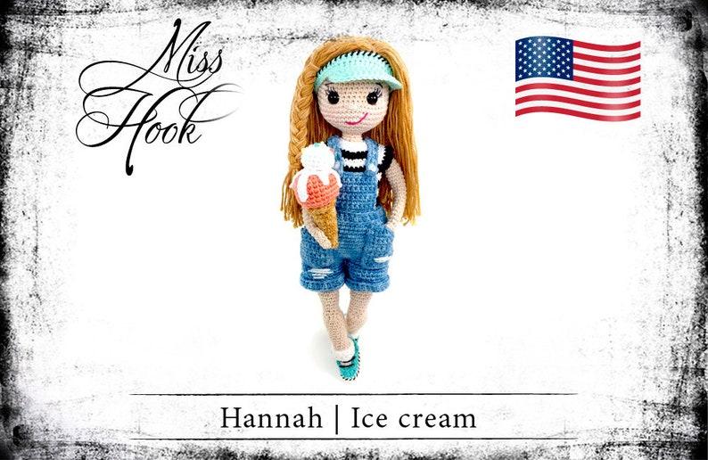 crochet pattern Hannah Ice cream doll summer ice cream eBook image 0