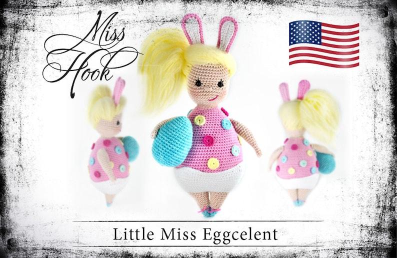 crochet doll pattern Little Miss Eggcelent Easter bunny egg image 0