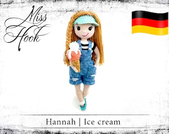 "crochet doll pattern ""Hannah – Ice Cream"" eBook PDF (german language)"