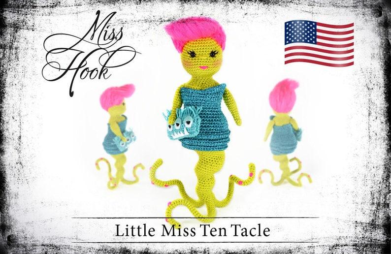 crochet doll pattern Little Miss Ten Tacle little monster image 0