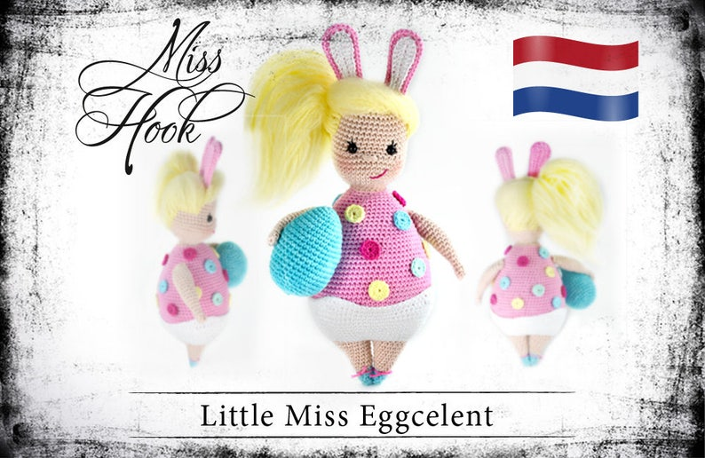 Haakpatroon voor de pop Little Miss Eggcelent easter bunny image 0