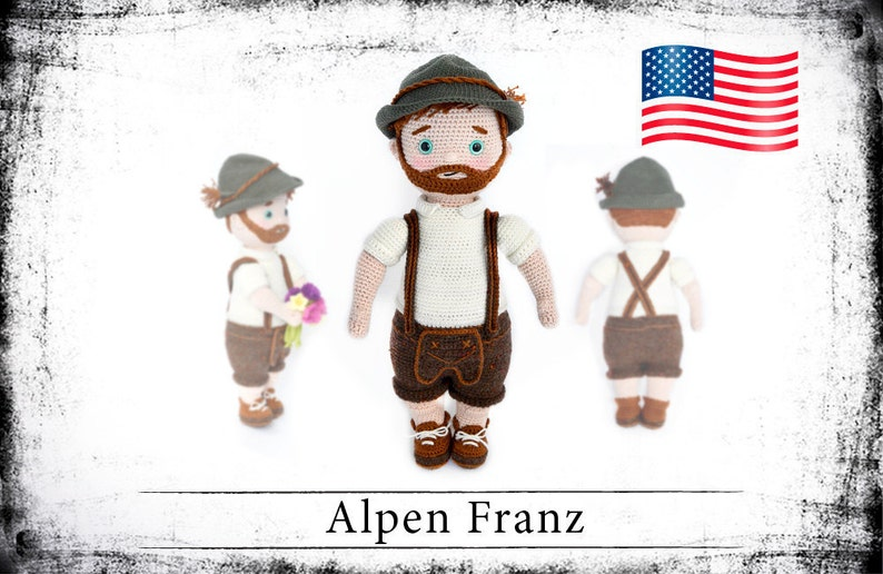 crochet doll pattern Mister Alpen Franz eBook PDF english  image 0