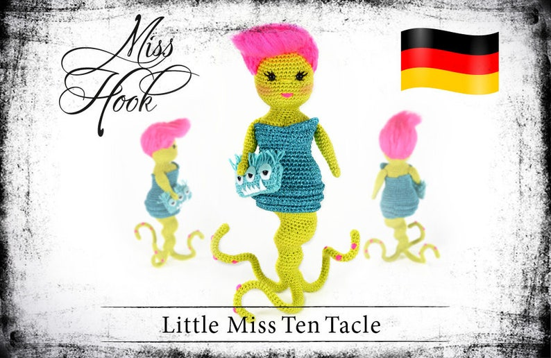 crochet doll pattern Little Miss Ten Tacle little monster image 0