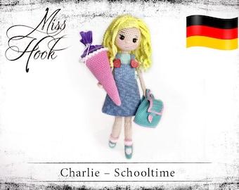 "crochet doll pattern ""Charlie – Schooltime"" schoolgirl eBook PDF (german language)"