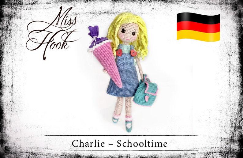 crochet doll pattern Charlie  Schooltime schoolgirl eBook image 0