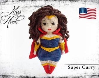 "crochet doll pattern ""Super Curvy"" super hero eBook PDF (English language) Curvy Girls"