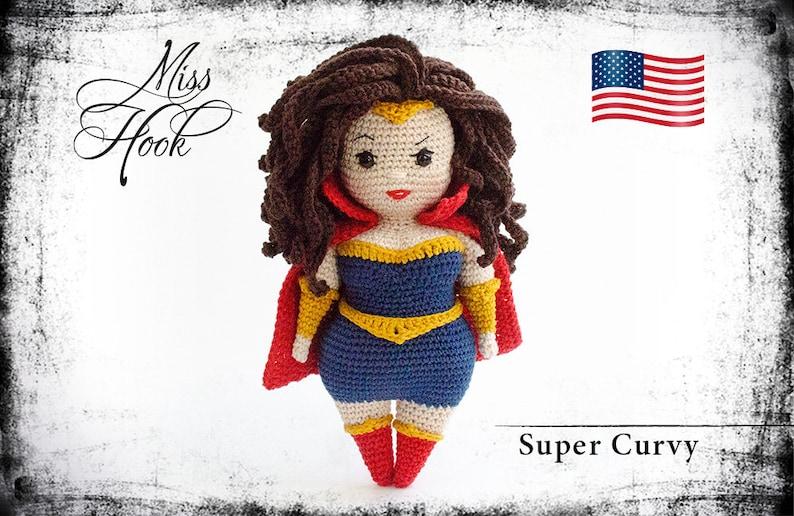 crochet doll pattern Super Curvy super hero eBook PDF image 1