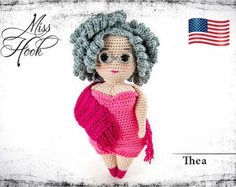 "crochet doll pattern ""Thea"" granny, grandmother, eBook PDF (english language) Curvy Girls"