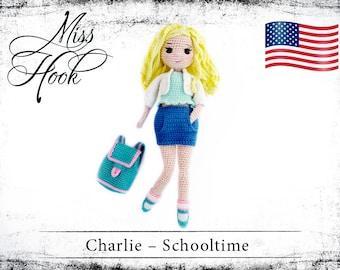 "crochet pattern ""Charlie Schooltime"" doll schoolgirl school eBook PDF (english)"