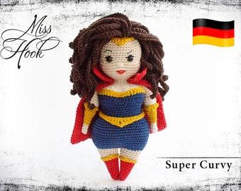 "crochet doll pattern ""Super Curvy"" super hero eBook PDF (german language) Curvy Girls"
