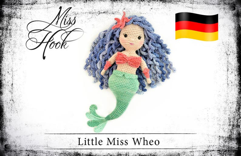 crochet doll pattern Little Miss Wheo mermaid eBook PDF image 0