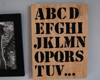 Wood alphabet sign