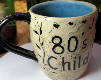 80's Child. Hand Thrown Sgraffito Mug with Robin's Egg Interior. 16 ounce. Ready to ship for free.