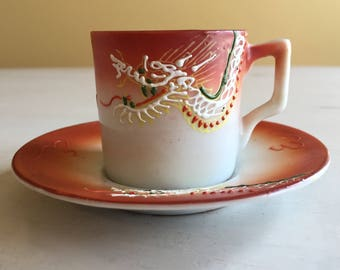 Lovely Hand Painted Asian Design Miniature Porcelain Cup