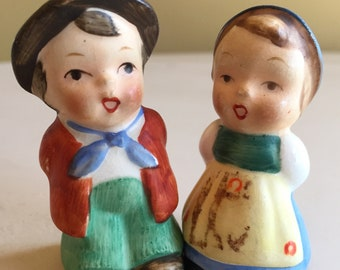 Vintage German Girl and Boy Salt and Pepper Shakers