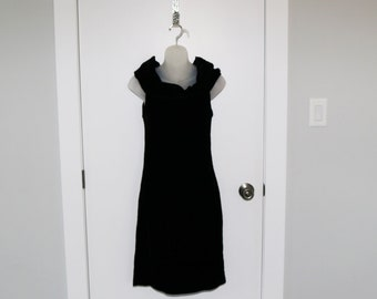 vintage 50s flapper dress fringe fringed black velvet little black dress bow LBD XXS XS