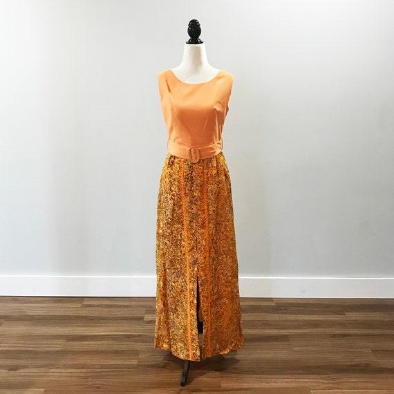 Peachy 1970s floor length dress