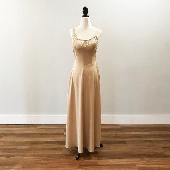 Vintage 1970s golden beige disco dress with over b