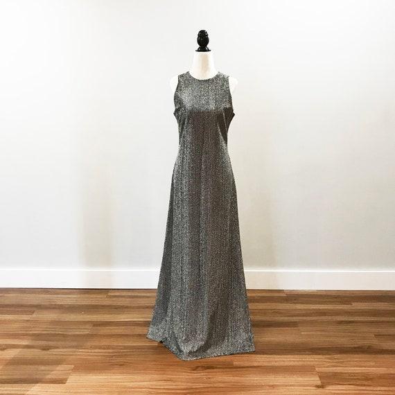 Vintage subtle silver floor length dress