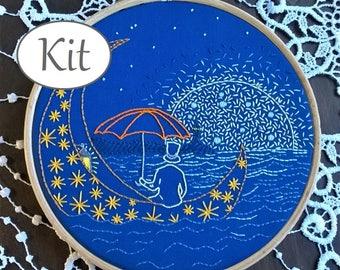 Beginner Embroidery Kit, DIY Hoop Art Kit, Sweet dreams, hand Embroidery Pattern, nursery decor - modern embroidery kit - needlepoint kits -