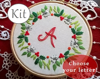 Embroidery kit - personalized monogram Kit , letter embroidery pattern - modern needlepoint kit - diy initial decor - christmas wreath